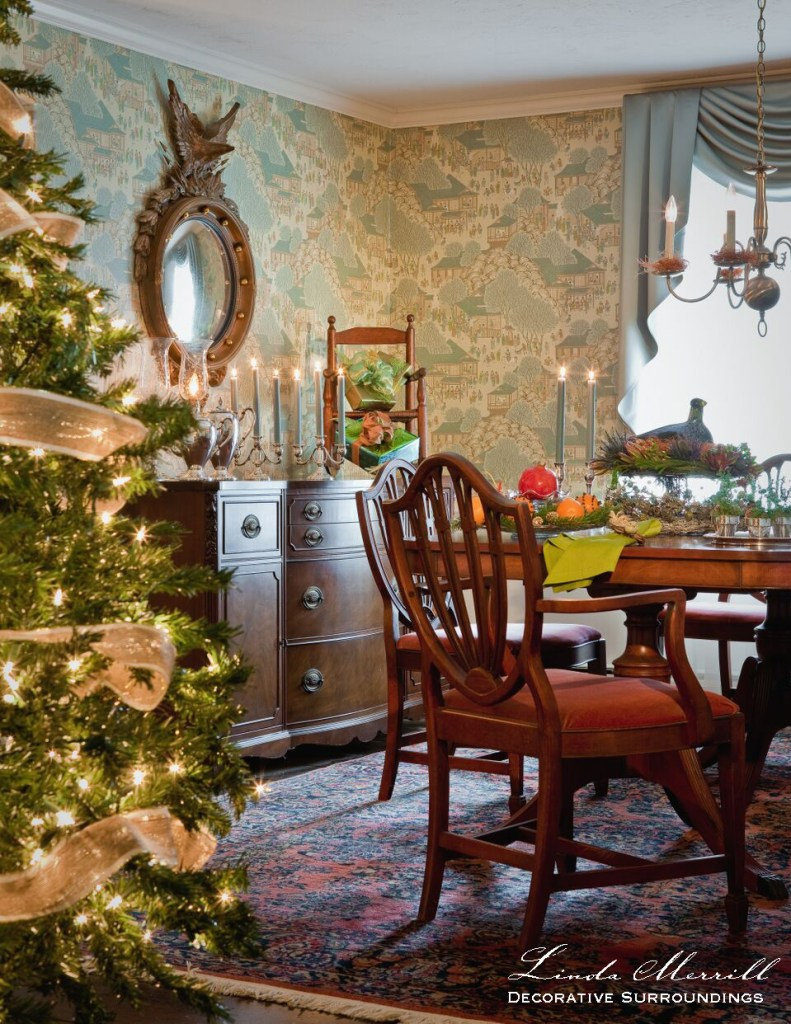 Editorial images Design by Linda Merrill Decorative Surroundings: A formal dining room decorated for Christmas, Christmas tree