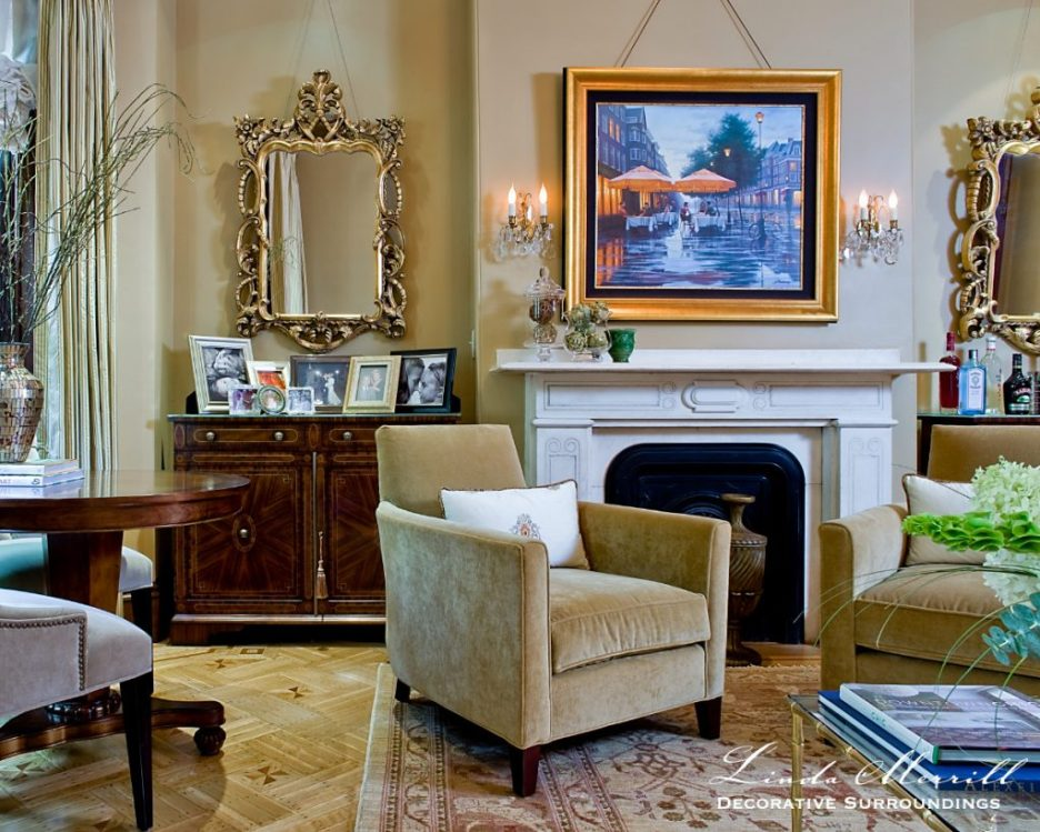 Design by Linda Merrill Decorative Surroundings: South End brownstone formal living room with gold walls and velvet furnishings