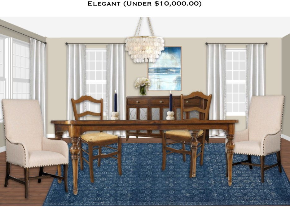Coastal beach themed dining room, dark blue rug, cadiz shell chandelier white curtains, shop surroundings