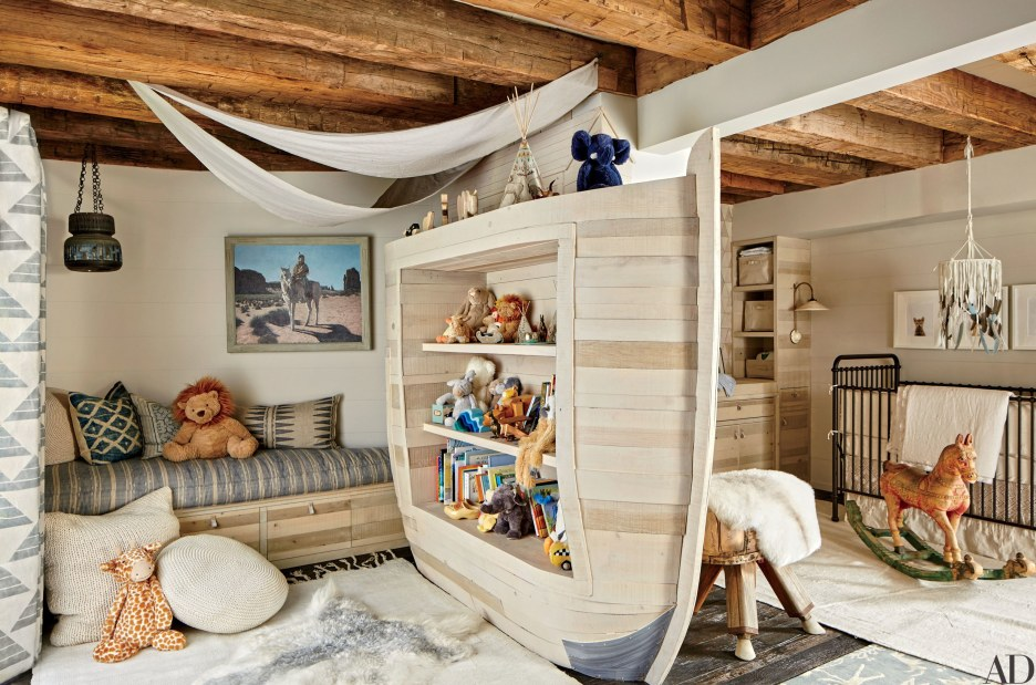 Design studio Hammer and Spear collaborated with PSS Design Cult to devise an arklike storage unit for the son's room in a Los Angeles home; the crib is by RH Baby & Child