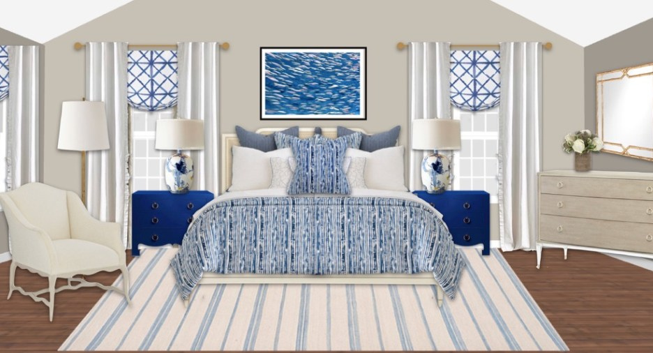 Coastal Beach themed bedroom, window treatments, bedding, shop surroundings