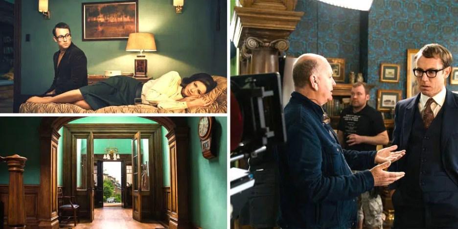 Frank, Tobias Menzies, Claire, Caitoina Balfe on set at Boston Apartment Outlander