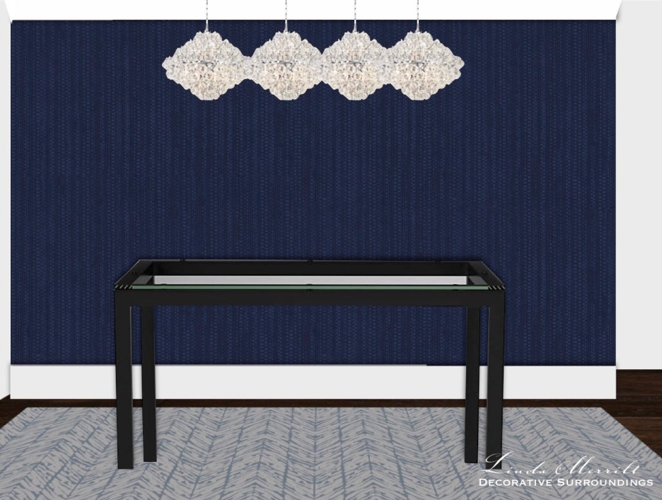 Interior design of dining area, blue grasscloth wallpaper, chandeliers, metal and glass table