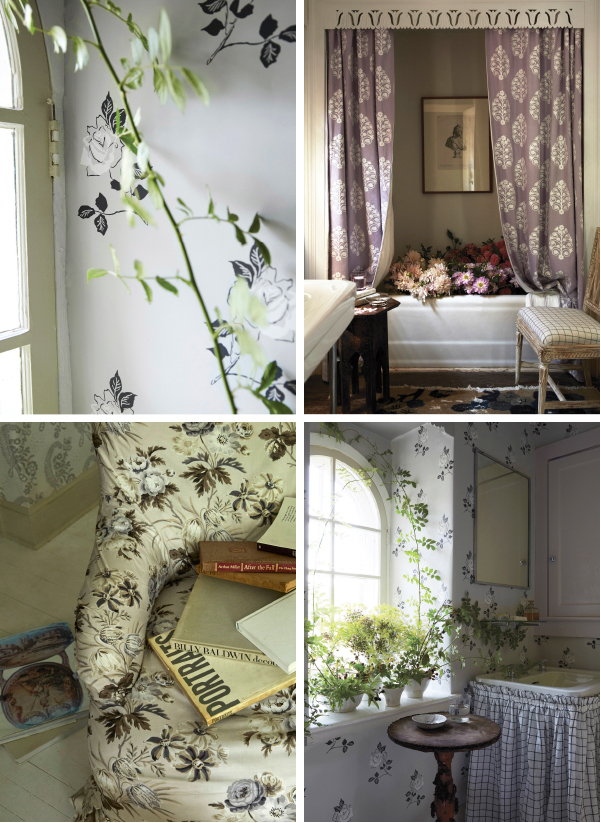 Schumacher fabrics from Vogue Collection florals and soft colors