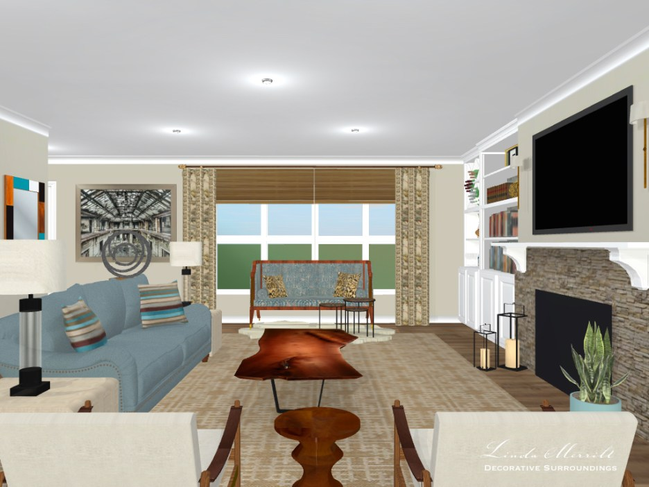 Linda Merrill Decorative Surroundings design for: great room space, beige, blue, window treatments, digital rendering, built-ins