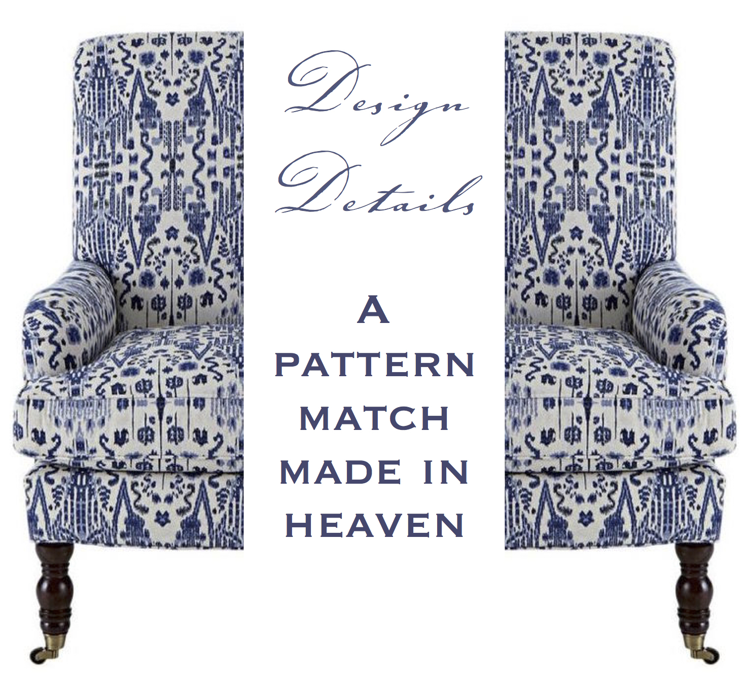Blue and white Pattern Match header