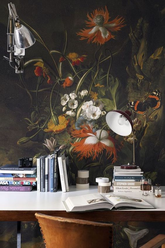 FOREST FLOOR' STILL LIFE OF FLOWERS MURAL BY RACHEL RUYSCH A Surface View