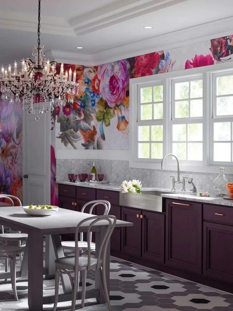 Kohler floral wallpaper in kitchen