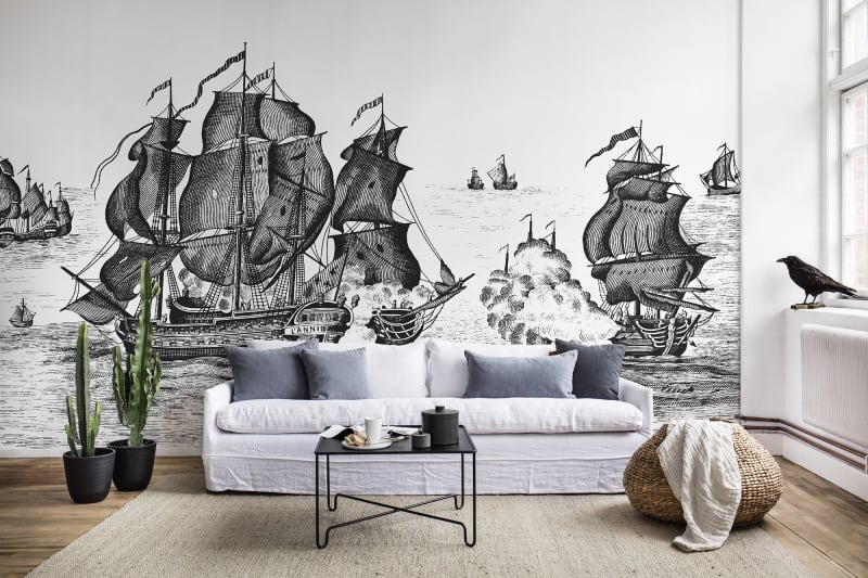 Color of the Month Black and White Rebel Walls High Seas Black wallpaper ships on ocean