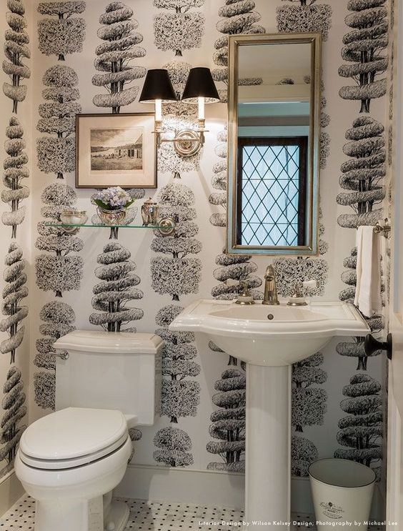 Color of the Month Black and White Wilson Kelsey Design Michael J Lee Photo Black and White Bathroom Cowtan Tout Wallpaper