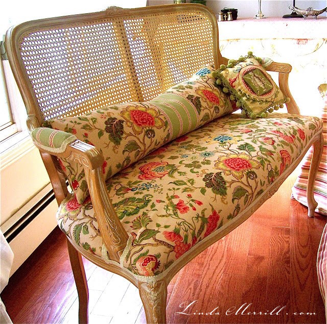 Linda Merrill design custom lumbar pillow bench seat floral fabric french cane settee