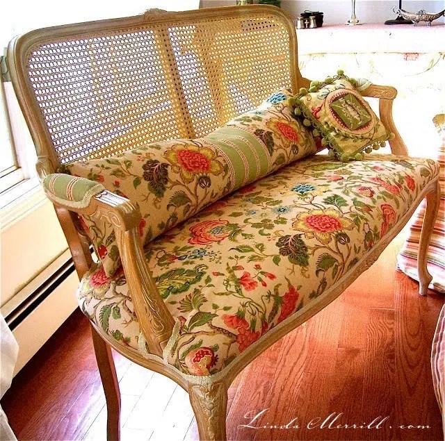 Linda Merrill design custom lumbar pillow bench seat floral fabric french cane settee