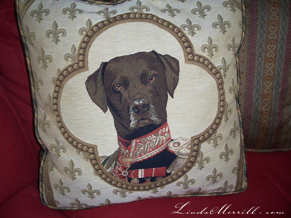 Linda Merrill design custom pillow design dog pillow red