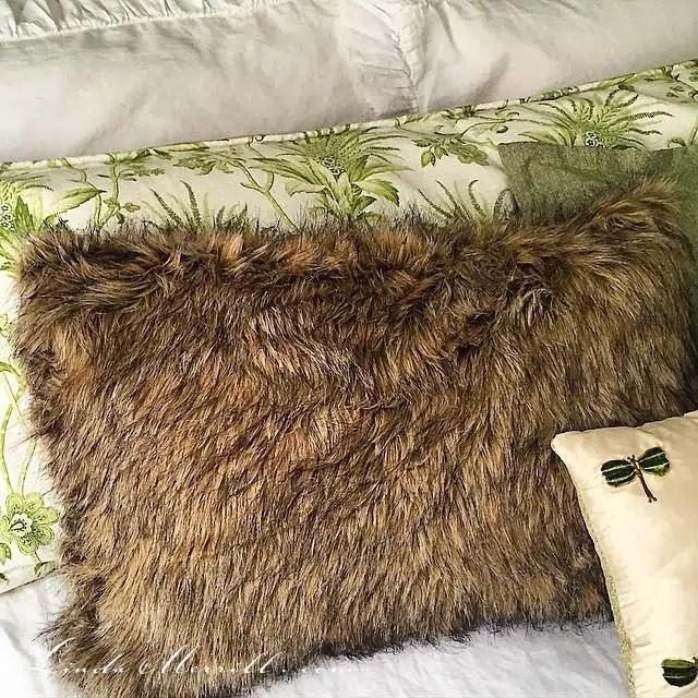 Linda Merrill design custom pillows bedding faux fur pillow