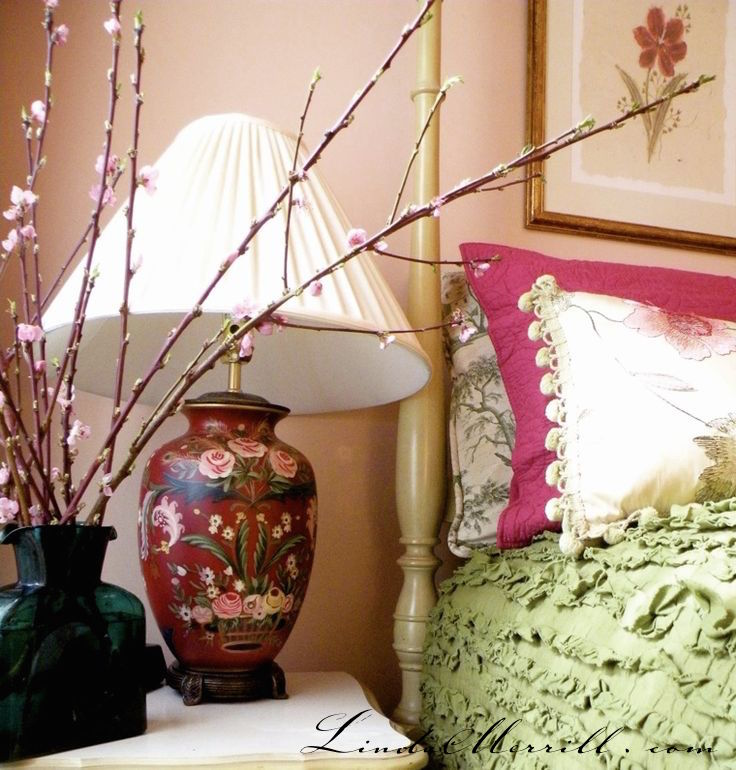 Linda Merrill design custom pillows bedding green pink red