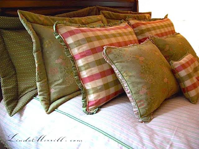 Linda Merrill design custom pillows bedding pink and green