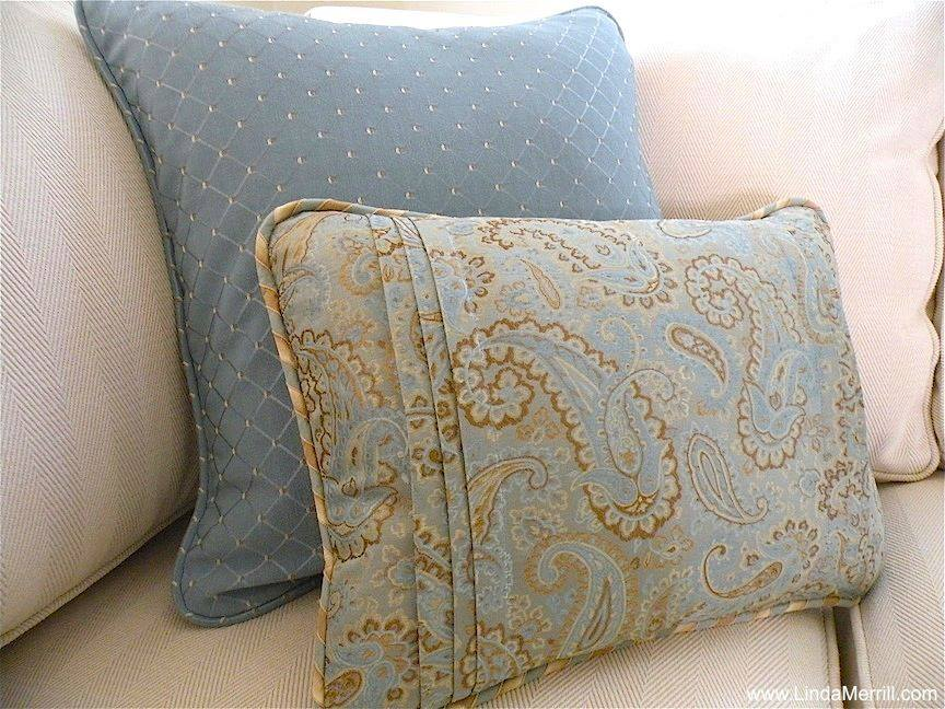 Linda Merrill design custom pillows blue beige coastal