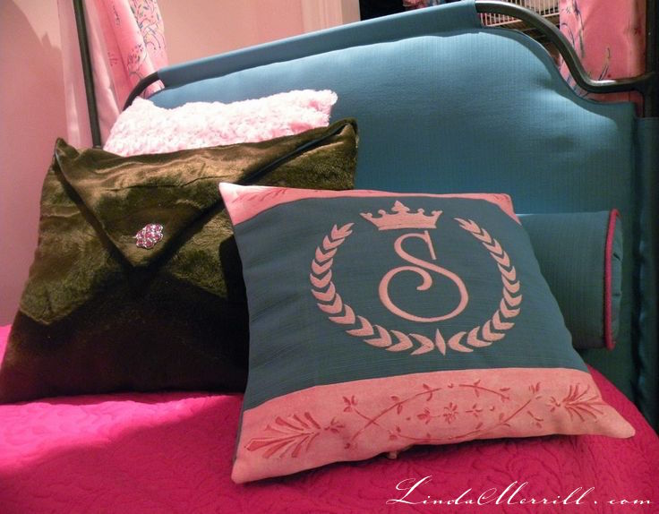 Linda Merrill design custom pillows girls kids room teal fucshia pink fur