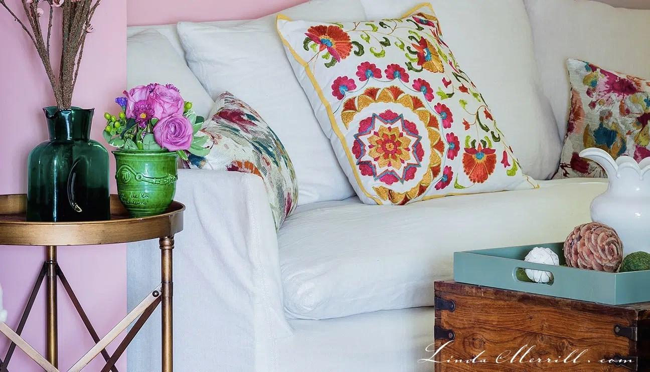 Linda Merrill design custom pillows living room pink green white sofa