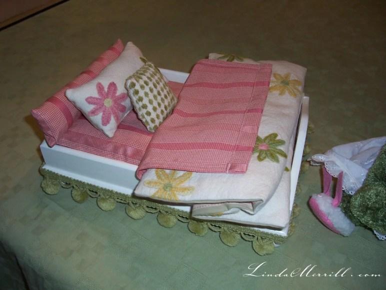 Linda Merrill design toy bed custom bedding pink floral