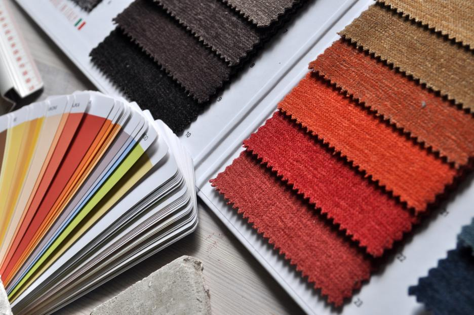 fabrics and paint palette