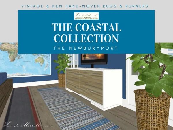Newburyport Rug Coastal Collection blue yellow white pink runner