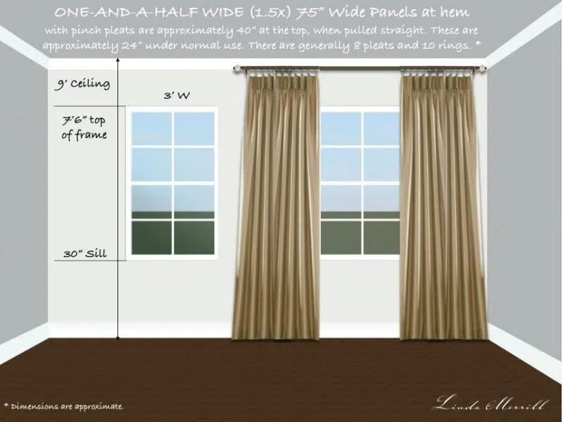 Drapery panel 1.5 width single window tall
