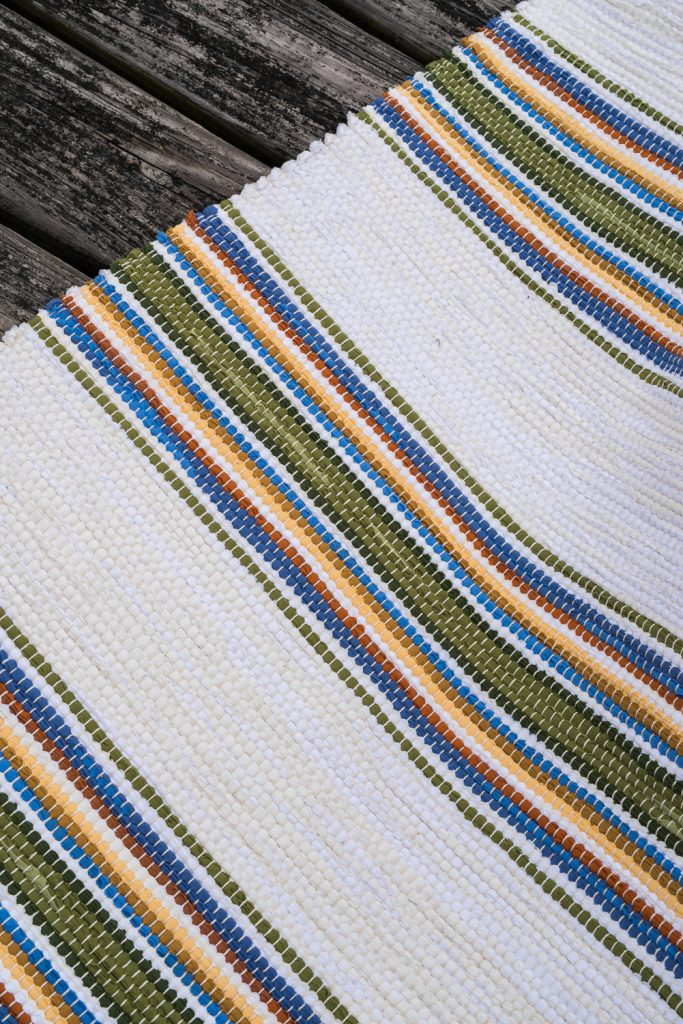 The Newport Rug Coastal Collection blue and white handwoven rug detail 2
