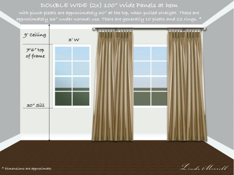 Drapery panel double width single window tall