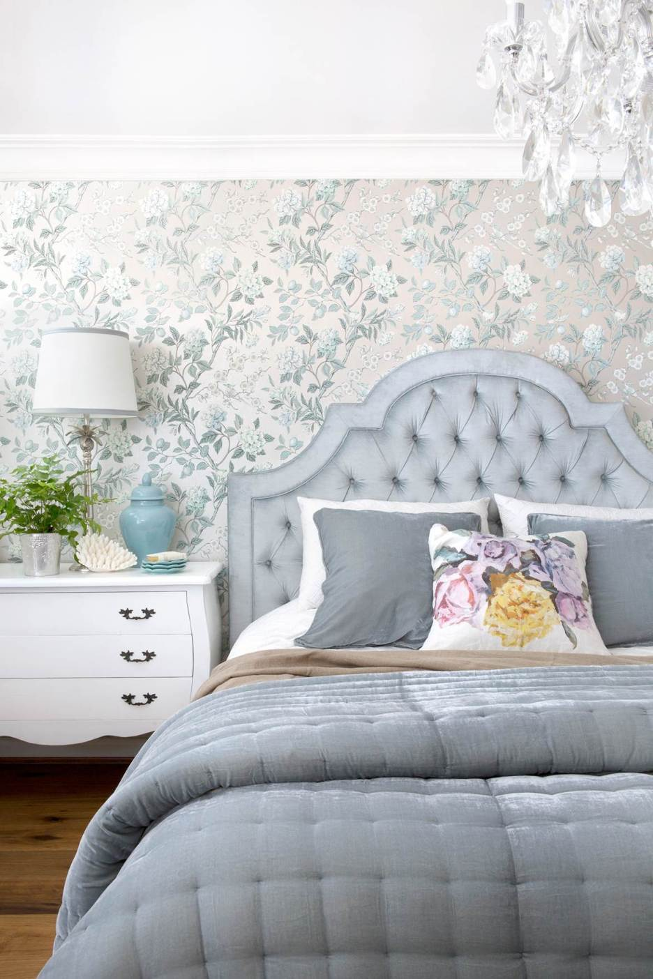 Homes to Love Australia designer Natalee bedroom pale blue tufted headboard not outdated trends