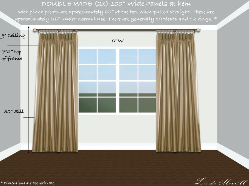 Drapery panel double width double window tall