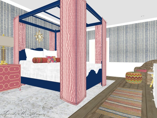 Linda Merrill Coastal Collection Nantucket Pink Blue Bedroom 1