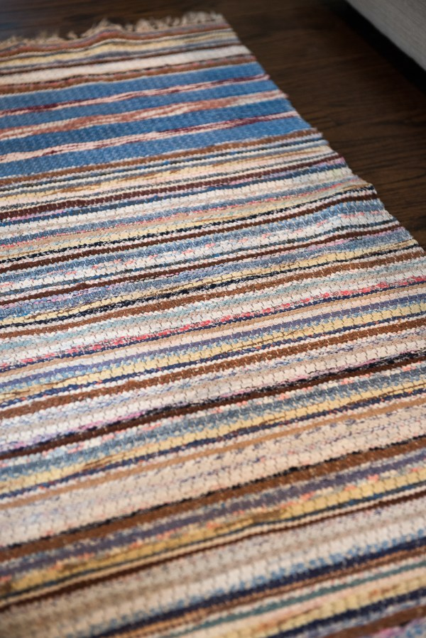 Newburyport Rug Coastal Collection blue yellow white pink runner