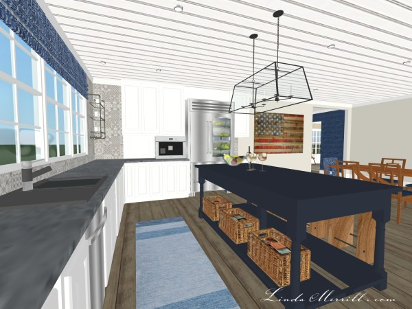 Linda Merrill Coastal Collection blue white kitchen Hampton rug 1