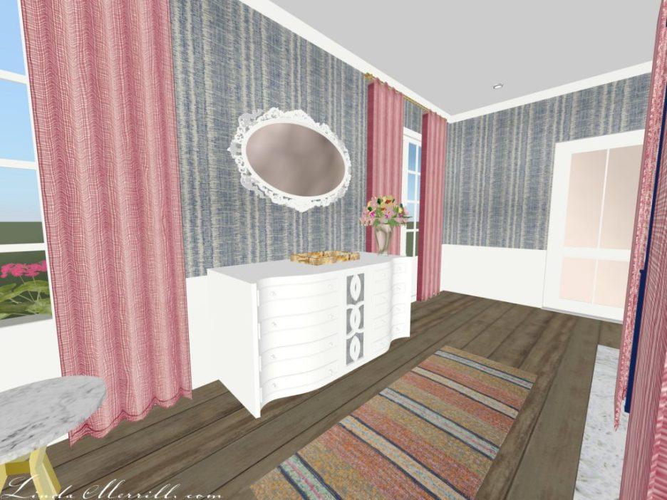 Linda Merrill The Coastal Collection Nantucket pink blue bedroom 3