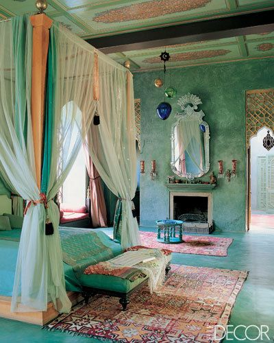 Bohemian Moroccan inspired peach and blue bedroom elle decor