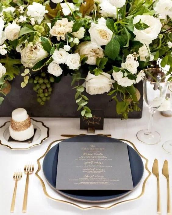 Casa de Perrin gray and gold tablescape Martha Stewart Weddings wedding reception