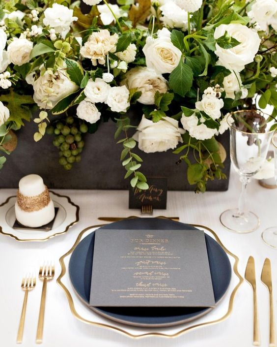 Casa de Perrin gray and gold tablescape Martha Stewart Weddings wedding reception