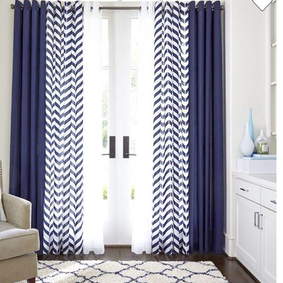 Blue and white drapery panels chevron, navy blue white sheer