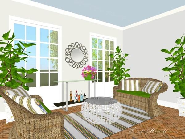 Linda Merrill Coastal Collection Newport Rug Gray blue green Sunroom 1