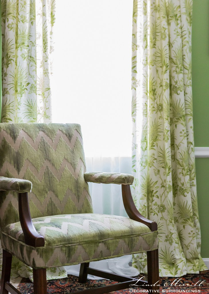 Linda Merrill green drapery how wide should curtains be