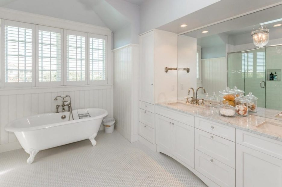 bathroom white freestanding tub 3 Dunes Road MA Sandpiper Realty Edgartown property