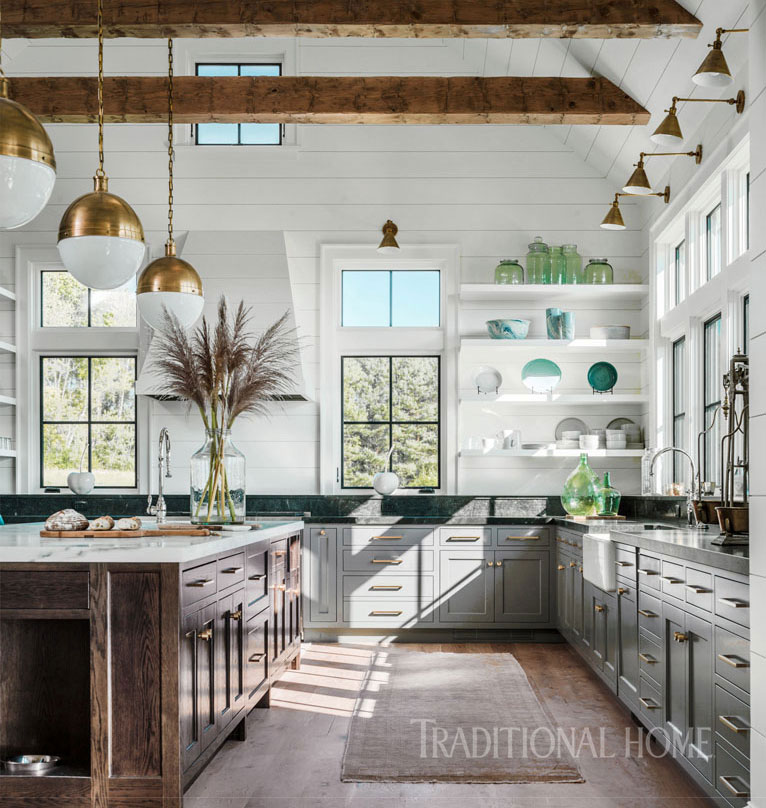 Vermont Farmhouse Fantasy Roundtree Construction Traditional Home White kitchen gray cabinets