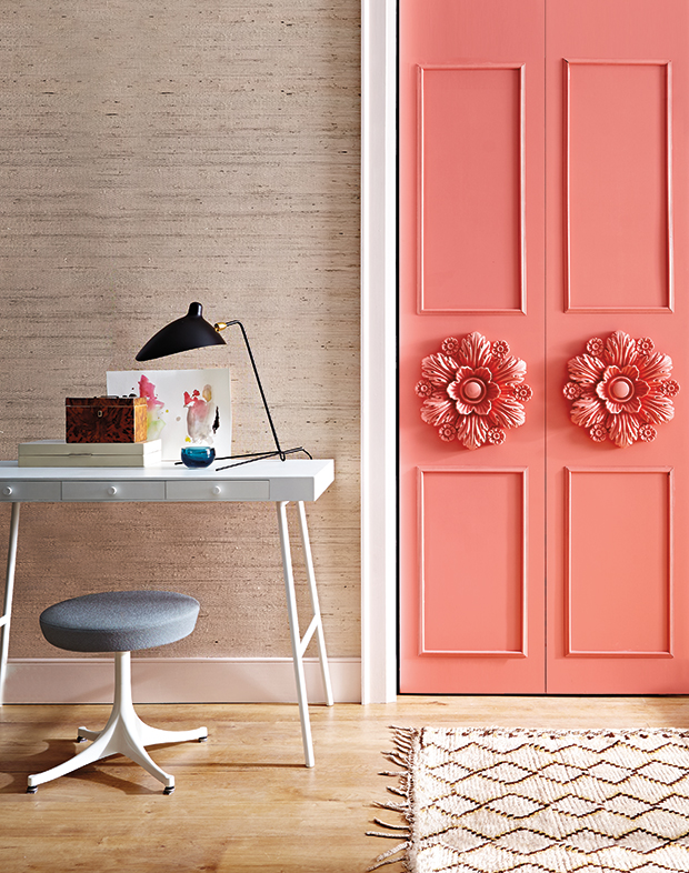 House and Home DIY Paint closet door paint and medallion project