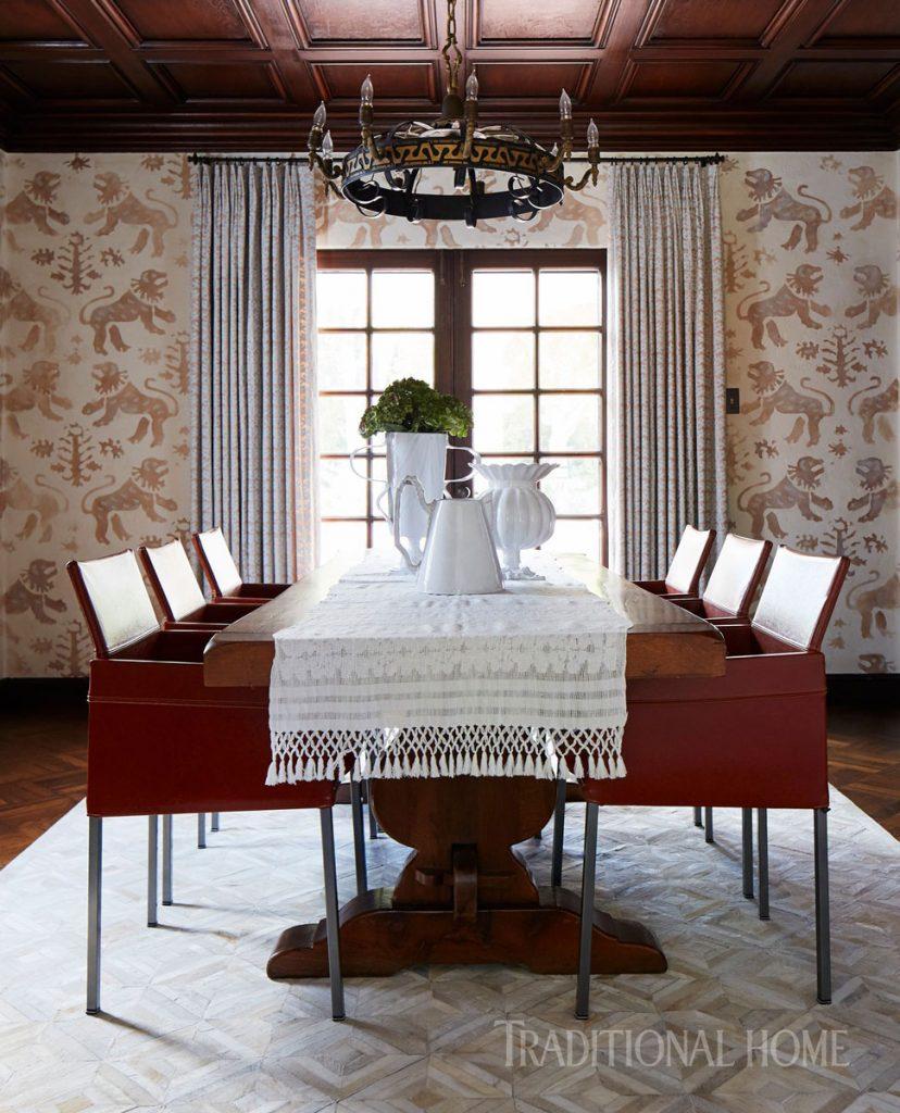 Kari McIntosh Dawdy interior design John Merkl photography dining room spanish revival leather chairs body type
