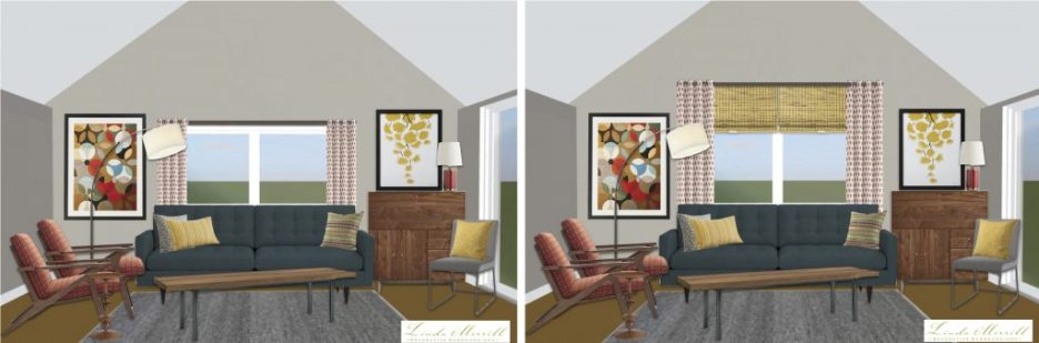 Linda Merrill window treatment height high drapery panels vaulted ceiling side by side