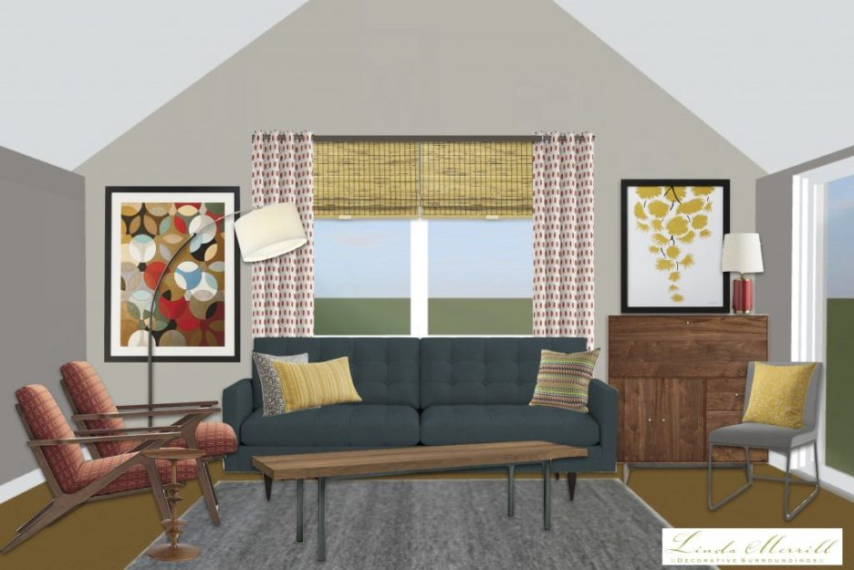 Linda Merrill window treatment height how high drapery panels vaulted ceiling drapery bamboo shade
