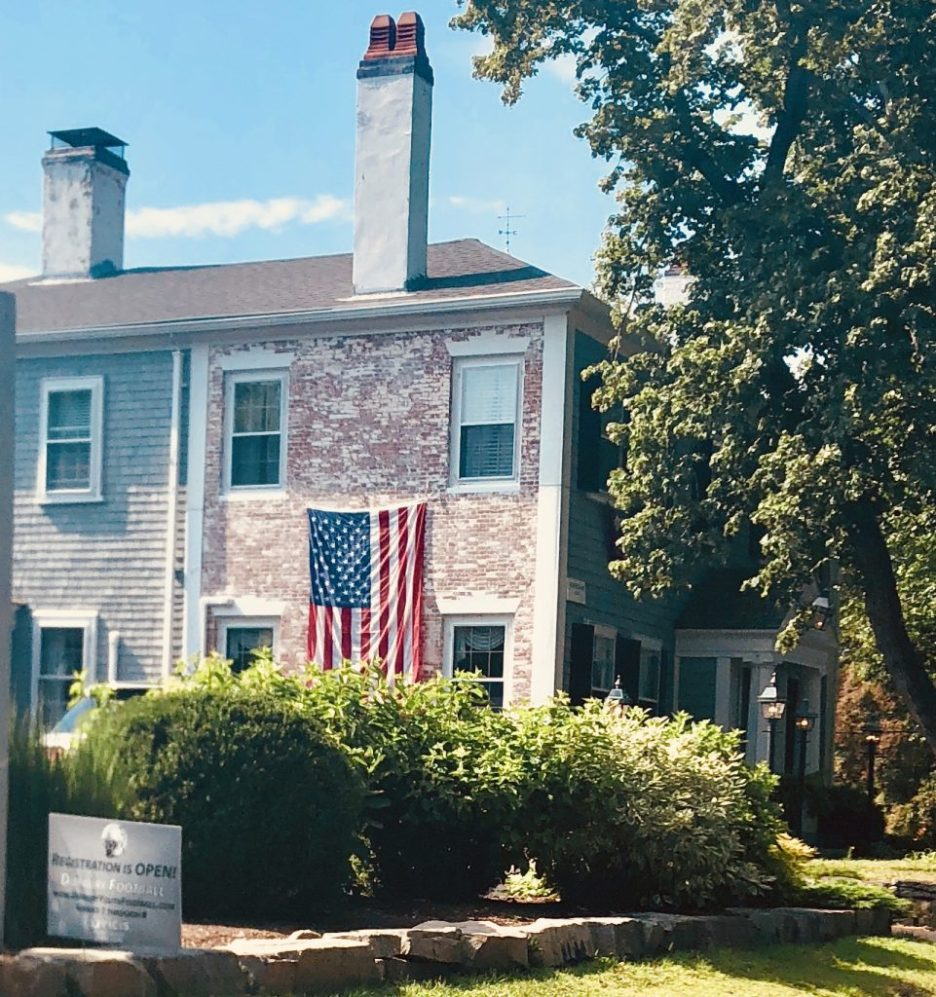 Antique White House white washed brick Duxbury MA American Flag