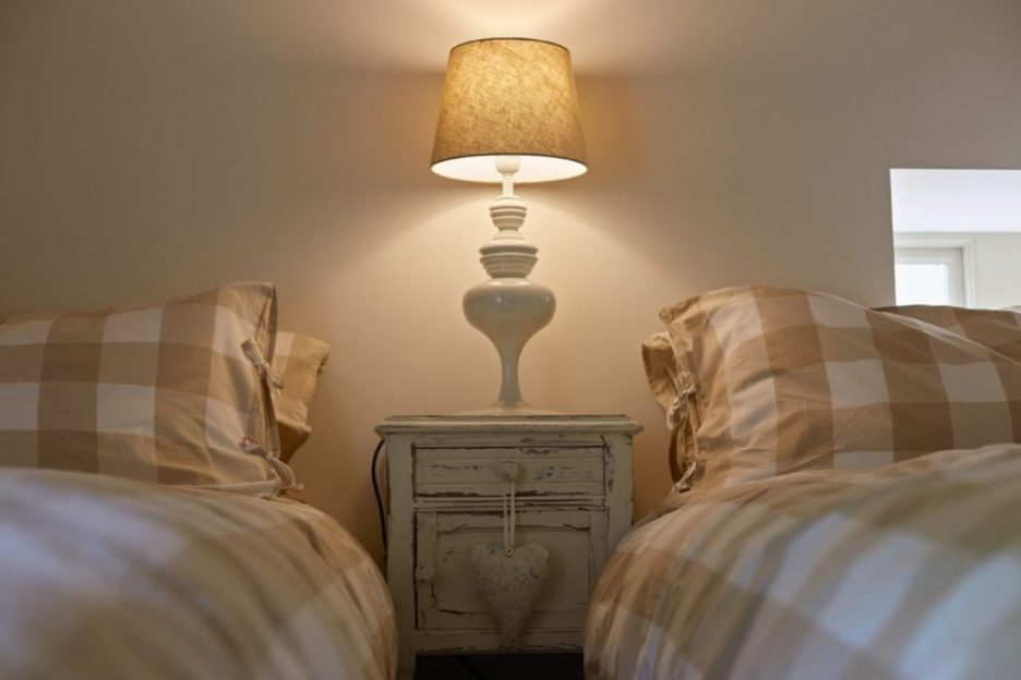 Joiner's Shop The Bastle stone cottage Photography David Webb twin bedroom