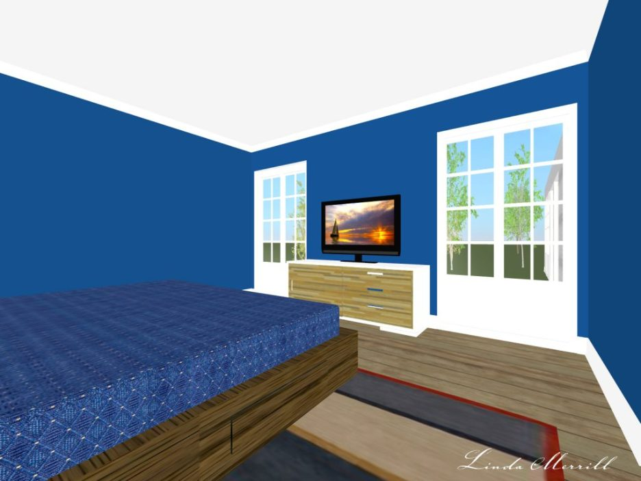 Linda Merrill rendering dark blue bedroom white trim no accessories
